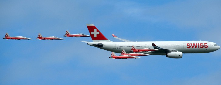 Swiss Airbus A330 with Patrouille Suisse